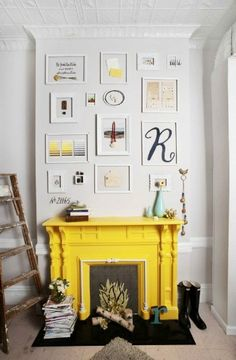 Lovin' the yellow fireplace. Heck, I think I just need to make a faux fireplace so I can have this!!