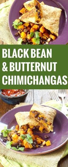 Butternut Squash Black Bean Chimichangas  Crazy spicy... less adobo!