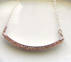 Pave Diamond Bar Necklace/ Genuine by LaurenBlakeCreations on Etsy, $165.00