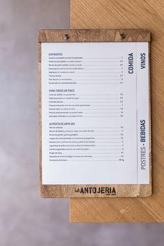 Branding para el bar de tapas y copas de Sevilla: La Antojería. Carta de menú Carta Restaurant, Restaurant Signage, Tapas Restaurant, Restaurant Menu Template, Restaurant Menu Design, Menu Tapas, Tapas Bar, Bar Menu, Cafe Menu Design