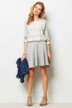 floral lattice lace over gray jersey - anthro