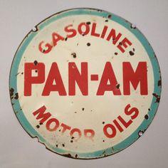 Vintage Porcelain Pan Am Gasoline Motor Oil Sign