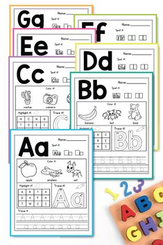 Alphabet printable activities for preschool and kindergarten. These pack of worksheets will make teaching and practice English uppercase and lowercase letters much easier. Your students will have so much fun coloring cute animals and alphabet pictures, tracing letters, practicing writing and more. The kids practice letter recognition and handwriting in a creative way. This pages are perfect fo morning work, small groups, early finishers  #alinavdesign #alphabetpractice #alphabetworksheets #abcs
