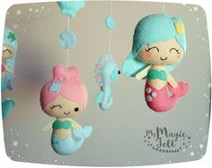Baby mobile mermaids Crib mobile Mermaids nursery by MyMagicFelt