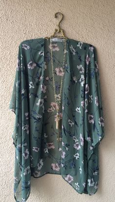 Local Maui designer emerald green floral silk chiffon kimono for beach days / Bohemian Angel