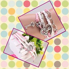 Love key stone Mondrel silver charm bracelet Pink and white faux leather bracelet adjustable length Jewelry Bracelets