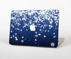 """The Glowing White SnowFlakes Skin Set for the Apple MacBook Pro 15"""" with Retina Display from Design Skinz"""