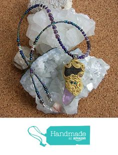 Clay Wrapped Crystal Pendant made with Amethyst Citrine Blue Aventurine Gold on Amethyst Blue Aventurine Glass Beads Crystal Beaded Matinee Length Necklace from Wholistic Blessings http://www.amazon.com/dp/B018BN7HGM/ref=hnd_sw_r_pi_dp_c0gCwb1VZ7H37 #handmadeatamazon