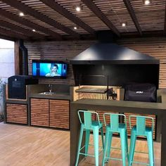 Paradise Outdoor Kitchens For Entertaining Guests Barbecue Design, Grill Design, Outdoor Kitchen Patio, Outdoor Kitchen Design, Parrilla Interior, Built In Braai, Backyard Patio Designs, Interior Design Living Room, New Homes