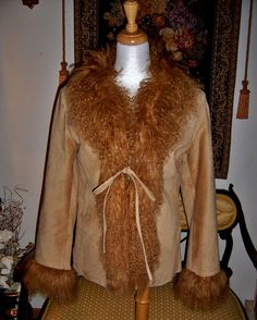 Beautiful Express Real Curly Mongolian Lamb Fur Trim COAT Suede Leather Jacket S #Express #BasicCoat