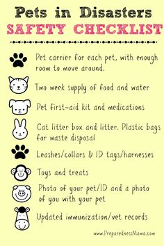 What to include in pet emergency kit. If you need to evacuate, never leave your pets behind. Find a shelter or hotel that takes pets by contacting FEMA. Pet emergency list: vaccination records, ID photo of dog/cat & dog tag so shelters that take pets let you in. Have food, medicines, and lots bottled water. Bring leash & pet carrier. Kitty litter if you have cats. & toys & bed. & First aid kit.