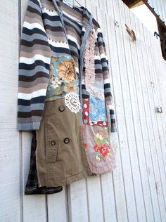 medium - xlarge  / sweater Jacket / Dress / Artsy Wearable Art / Upcycled Clothing by CreoleSha