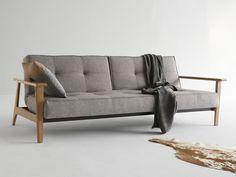 Schlafsofa Splitback mit Holzarmlehne Sitting Schlafsofa Innovation