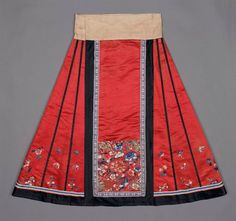 Chinese woman's skirt (qun) from the Qing dynasty circa 1880s. Boston Museum of the Fine Arts