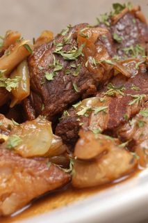 Julia Child's Boeuf Bourguignon!  I've been wanting to make this ever since watching Julie and Julia. Gonna do it this summer in celebration of her 100th b-day!