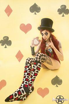 Crazy Clown Girl Wonderland #ink #doll #madhatter