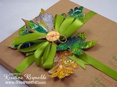 #cre8time for a #PenPattern Leaves gift topper. Check out Kristine's beautiful bow and leaves arrangement for a friend's gift. #Stampendous #Leaves