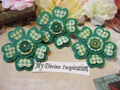 Verde y cuadros adornos de papel hecho a mano, flores de papel para Scrapbook diseños tarjetas Mini álbumes etiquetas y papel