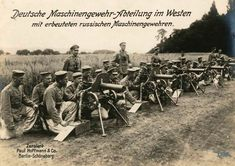 A German machine-gun company on the Western Front, using Russian weapons that were probably captured during the Gorlice-Tarnow battles.