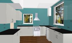 Crisp Modern Kitchen Design with Grey Cabinetry and Quartz Worktops. start Designing today with the Free 3D Kitchen Planner.