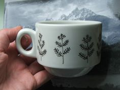 hand-illustrated coffee cup - ferns by tinyhappy