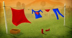 Superman clothes drying