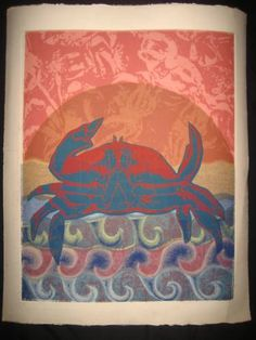 Original Art Vintage Crab Print Zodiac Cancer Beach 22 X 18 UNIQUE Only 10 Made   eBay #zodiac #astrology #cancer #crab
