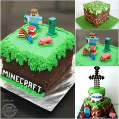 My kids are in the midst of a Minecraft craze (Minecraft is a game on the computer), so I created this cake for a Cub Scout fundraiser. The cake is a square cake (vanilla and choco… Minecraft Party, Minecraft Cookies, Minecraft Birthday Cake, Minecraft Cake, Cool Birthday Cakes, Birthday Fun, Birthday Ideas, Bolo Mine Craft, Cupcake Cakes