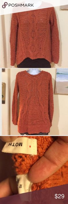 MOTH ANTHROPOLOGIE orange cream high low sweater Gently worn , shorter in the front ,  tag says XS but fits like a size S , this is an Anthropologie brand, price NEGOTIABLE Anthropologie Sweaters