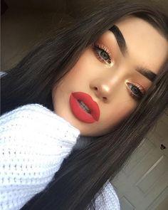 Minimalist Makeup Beauty Routines For Everyone Glam Makeup, Flawless Makeup, Gorgeous Makeup, Love Makeup, Skin Makeup, Makeup Inspo, Makeup Inspiration, Beauty Makeup, Makeup Red Lips