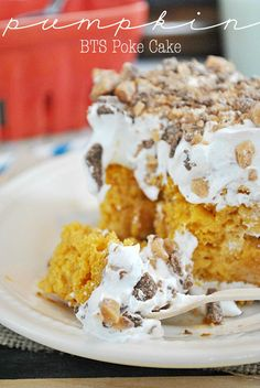 Pumpkin BTS Poke Cake | www.somethingswanky.com - Yellow Cake Mix - Pumpkin Puree - Pumpkin Pie Spice - Sweet Cond Milk - Cool Whip - Heath Chunks - Sundae Caramel Sauce