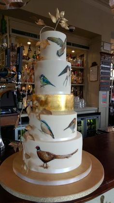 Pretty Cakes, Beautiful Cakes, Amazing Cakes, Bird Cakes, Cupcake Cakes, Fondant, Painted Wedding Cake, Fantasy Cake, Tall Cakes