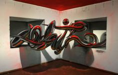 Sergio Odeith is a graffiti artist, his art pieces are popping out of the wall and jumping into reality. That form of art is called anamorphic graffiti. 3d Street Art, Street Mural, Street Art Graffiti, Street Artists, Wall Street, Graffiti Artwork, Graffiti Drawing, Graffiti Lettering, Typography Drawing