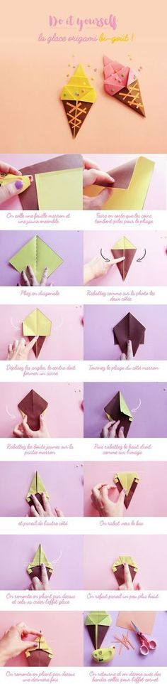Ice cream glace en origami - Poulette Magique