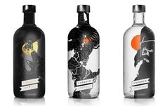 The Vargold Norse Vodka has four bottles with different designs all connecting to a colour scheme with the label placed at the bottom of the bottle. One of the Vodka's is in a dark glass black bottle with the design of a warrior fighting a dragon (a mythical creature) and a yellow sun silhouetting behind the dark shades of the image and the label/logo in a metallic gold text. Each design is thought to be unique and stand out with many of the bottles in white glass and similar drawings