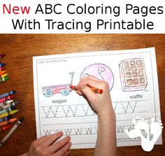 NEW Free ABC Coloring & Tracing Printable - this is a coloring page with letter tracing. There are two different types - 3Dinosaurs.com