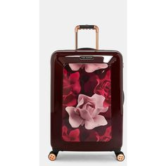 Porcelain Rose medium suitcase (£265) ❤ liked on Polyvore featuring bags, luggage and oxblood