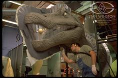 Jurassic Park III's full-size Spinosaur undergoes the mold-making process at Stan Winston Studio.