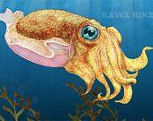 Baby Cuttlefish Art 4x6 Print - Blue Gold Ivory Green Aquatic Art - Watercolor Inspired. $7.00, via Etsy.