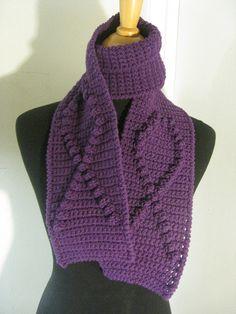 awareness crochet scarf purple