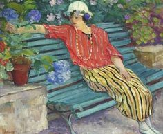 ~ Henri Lebasque: Young Woman Seated with Hydrangeas, 1925