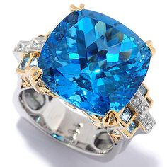 147-700- Gems en Vogue 20.52ctw Cushion Shaped Swiss Blue Topaz & White Zircon Ring