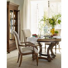 Hooker Furniture Cecile Pedestal Dining Table ($1,599) ❤ liked on Polyvore featuring home, furniture, tables, dining tables, wood, pedestal base dining table, pedestal table, hand made furniture, handcrafted furniture and leaf tables