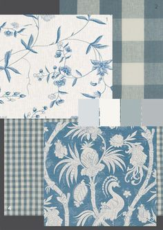 The Paper Mulberry: Romantic French Fabrics - Powder Blue: FABRICS: 1.Bennison 'Chinese Paper' 100% linen - colour shown: blue on oyster 2.Clarke and Clarke 'Clifford Check'100% linen -colour shown:Denim 3.Bennison 'Phoenix Negative' 100% linen - colour shown:blue on oyster 4.Clarke and Clarke 'Cove Check'100% linen -colour shown:Denim