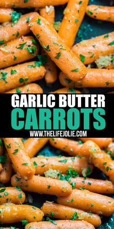 Cooked carrots don't have to be sugary sweet! Try these easy Garlic Butter Carrots. They're sautéed with a savory mix of butter and garlic and finished with fresh parsley for a simple side dish that's Crockpot Carrots, Roasted Baby Carrots, Carrots Healthy, Sauteed Carrots, Sauteed Vegetables, Veggies, How To Cook Carrots, Side Dishes Easy, Recipes