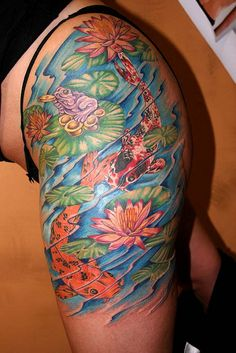 Beautiful soft and feminine full color half sleeve lotus for Koi pond tattoo