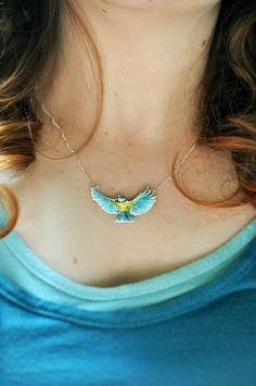 Flying Blue Tit Bird Necklace Hand Drawn by BattlekatsBoutique