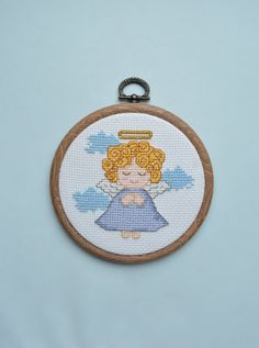 Dreamy angel - Completed Cross Stitch, Angel Decor, Nursery Wall Decor, Wall Hanging, Hand embroidery, Hoop art - pinned by pin4etsy.com