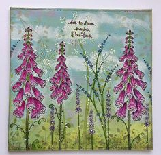 "An 8x8"" canvas made using my PaperArtsy EKC08 stamp set and PS061 stencil along with Fresco Finish paints"