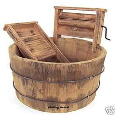 Wooden wash tub with wash board & ringer